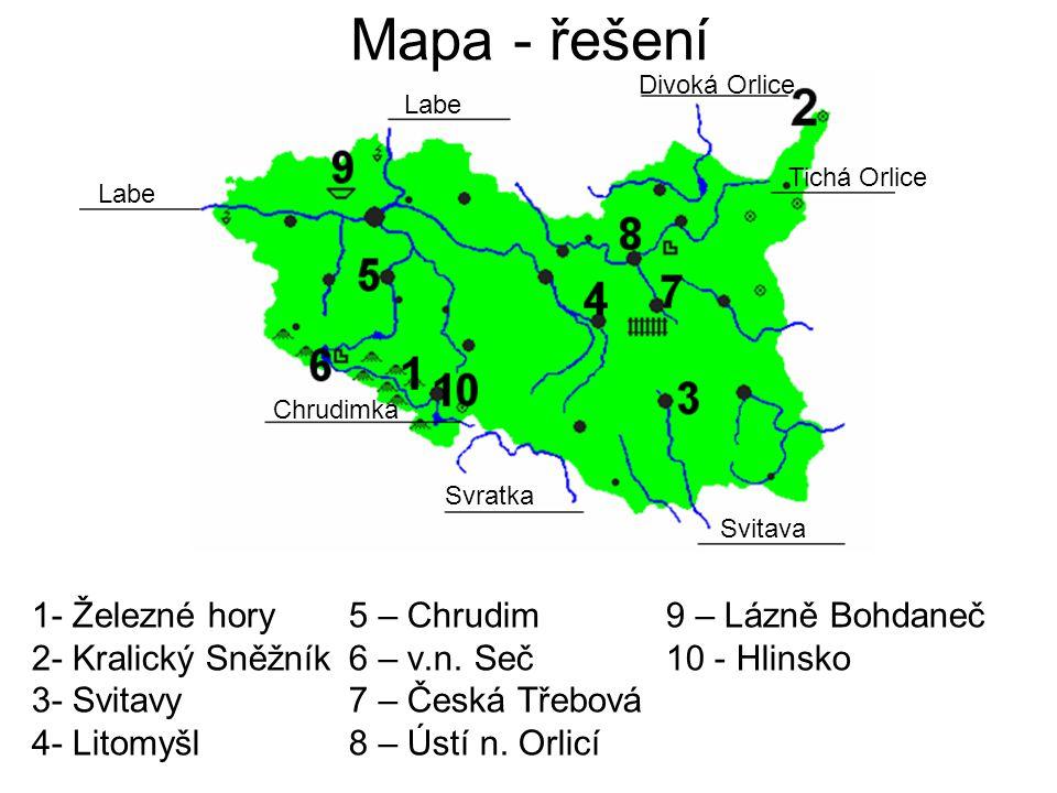 Mapa - řešení 1- Železné hory 5 – Chrudim 9 – Lázně Bohdaneč