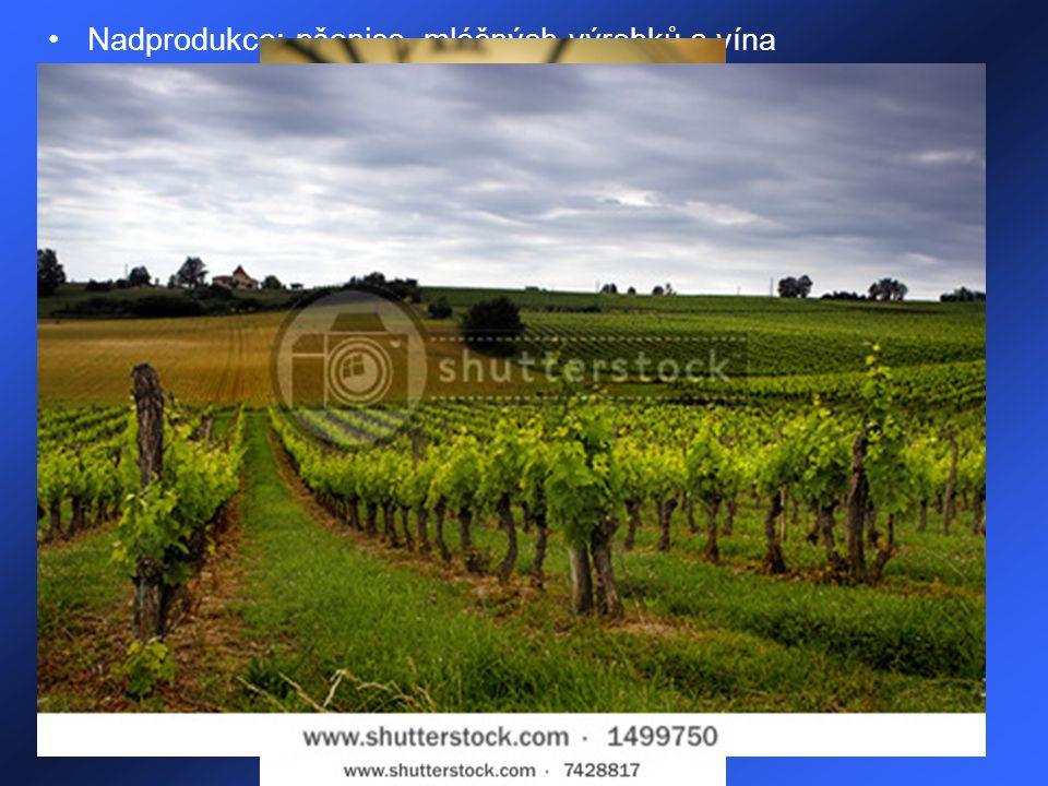 Nadprodukce: pšenice, mléčných výrobků a vína