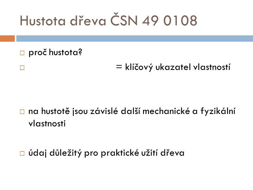 Hustota dřeva ČSN 49 0108 proč hustota = klíčový ukazatel vlastností