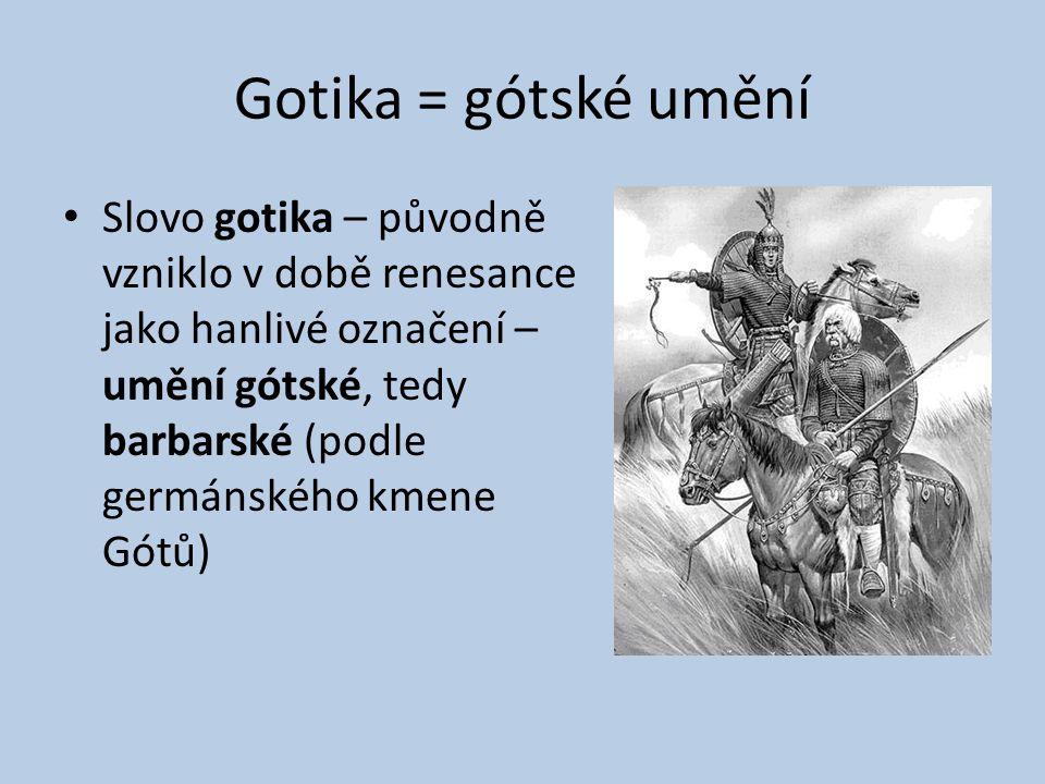 Gotika = gótské umění