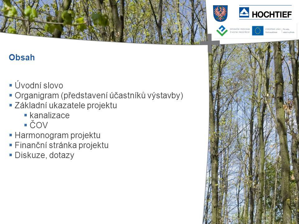 Obsah Úvodní slovo. Organigram (představení účastníků výstavby) Základní ukazatele projektu. kanalizace.