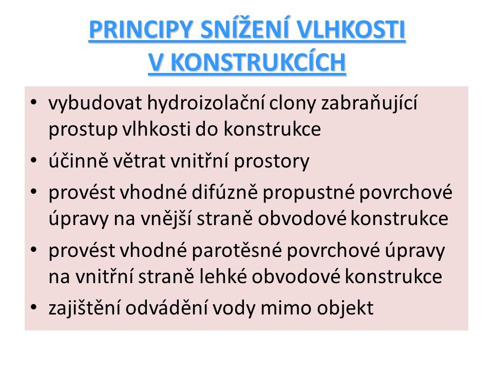 PRINCIPY SNÍŽENÍ VLHKOSTI V KONSTRUKCÍCH