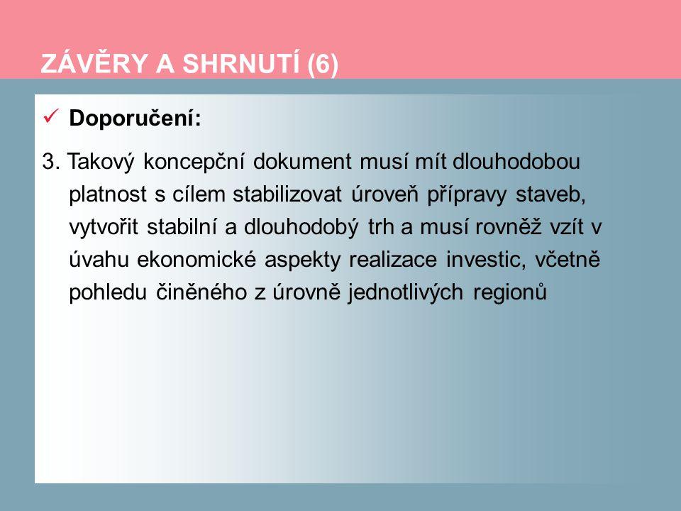 ZÁVĚRY A SHRNUTÍ (6) Doporučení: