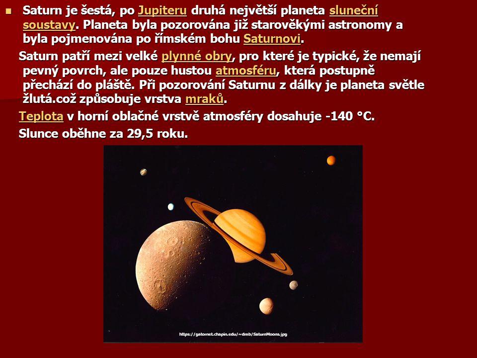 Teplota v horní oblačné vrstvě atmosféry dosahuje -140 °C.
