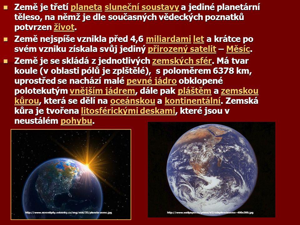 Země je třetí planeta sluneční soustavy a jediné planetární těleso, na němž je dle současných vědeckých poznatků potvrzen život.