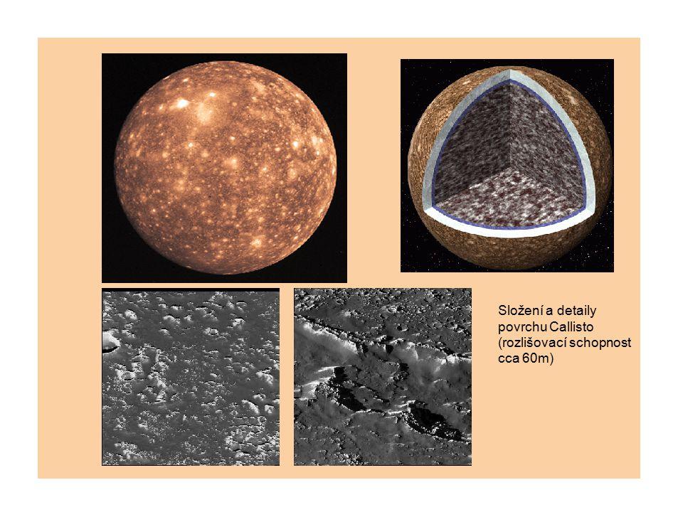 Složení a detaily povrchu Callisto (rozlišovací schopnost cca 60m)