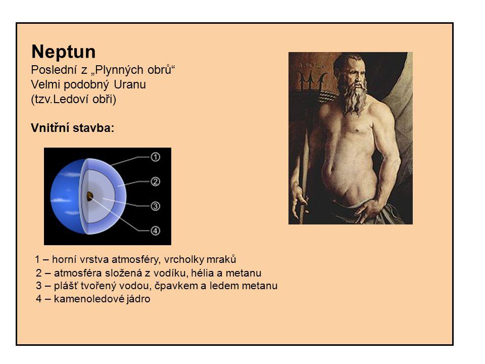 """Neptun Poslední z """"Plynných obrů Velmi podobný Uranu. (tzv.Ledoví obři) Vnitřní stavba:"""