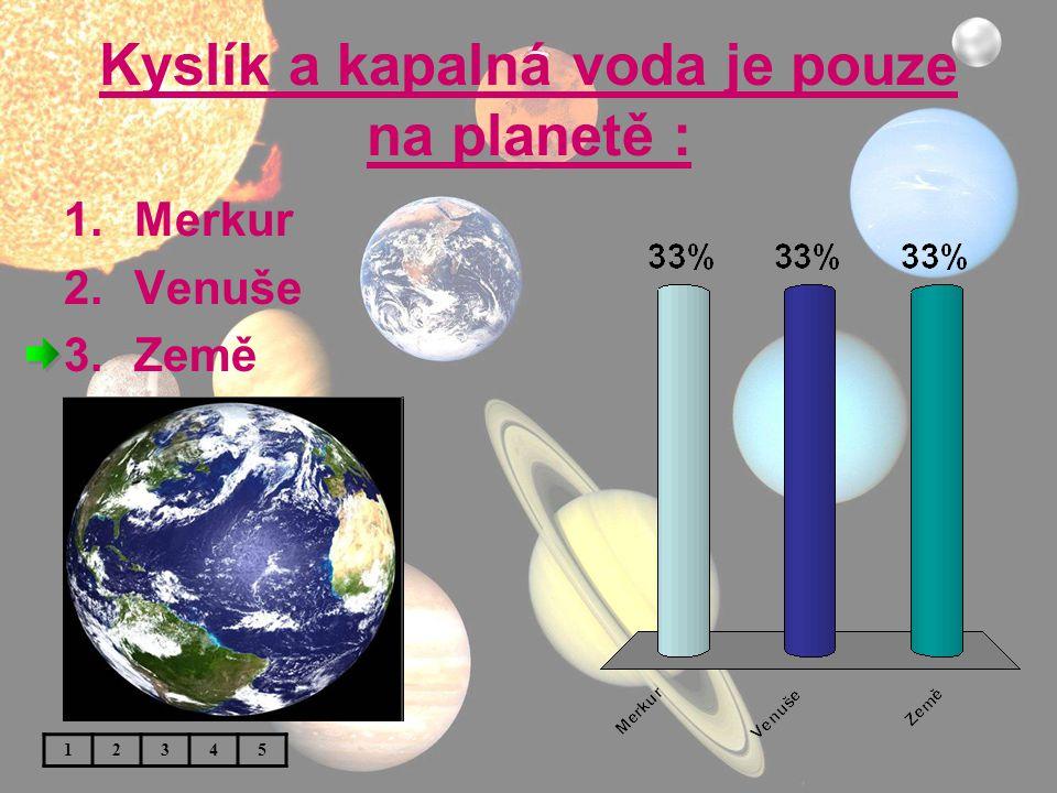 Kyslík a kapalná voda je pouze na planetě :