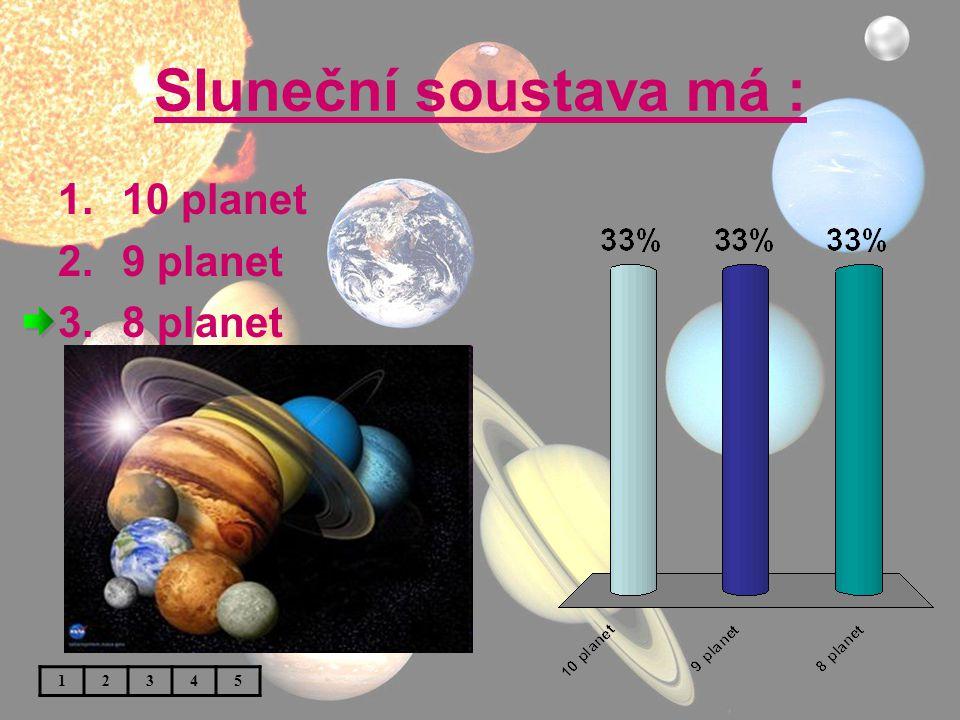 Sluneční soustava má : 10 planet 9 planet 8 planet 1 2 3 4 5