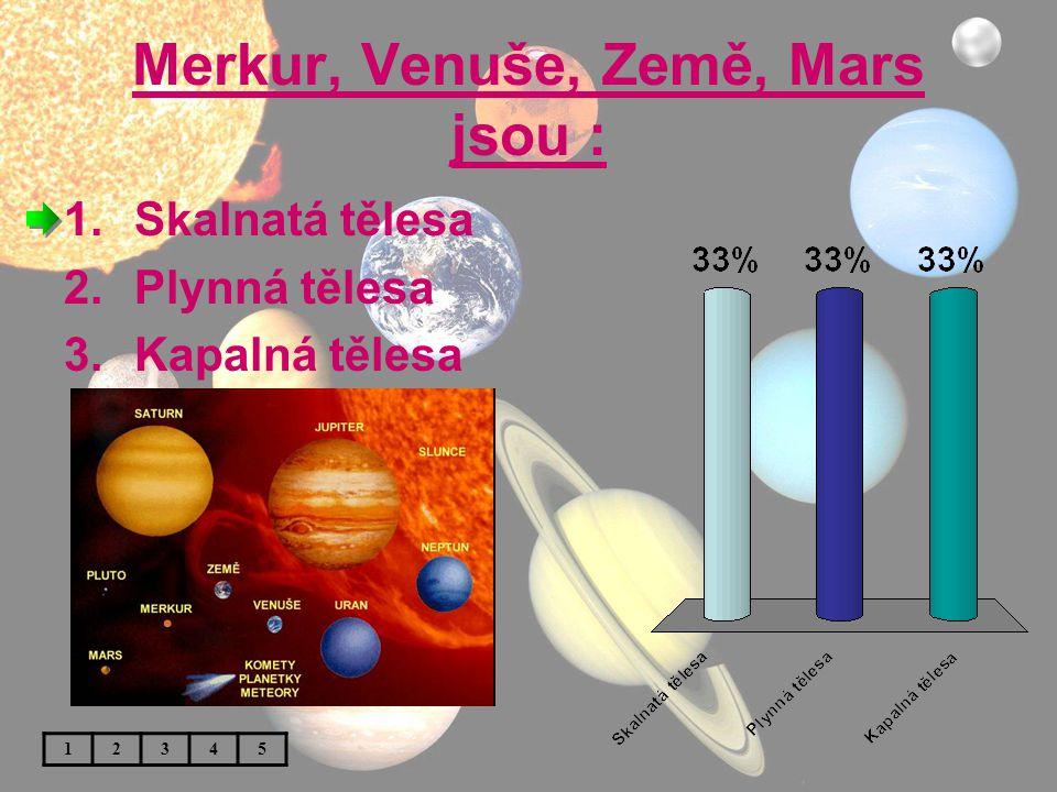 Merkur, Venuše, Země, Mars jsou :