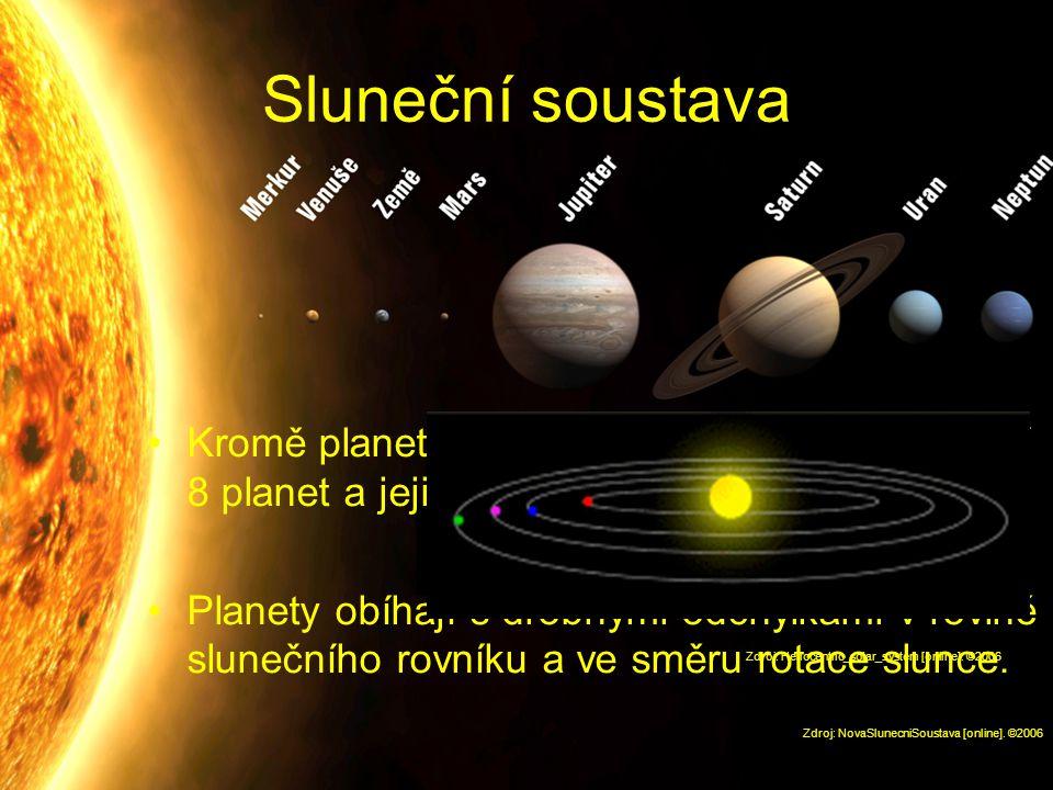 Sluneční soustava Kromě planetek a dalších menších těles ji tvoří 8 planet a jejich měsíce.