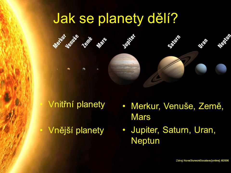 Jak se planety dělí Vnitřní planety Merkur, Venuše, Země, Mars