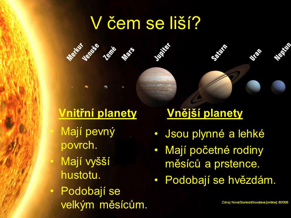 V čem se liší Vnitřní planety Vnější planety Mají pevný povrch.
