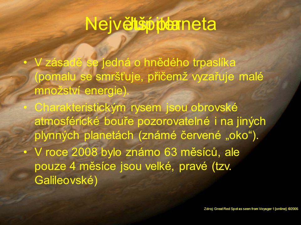 Největší planeta Jupiter