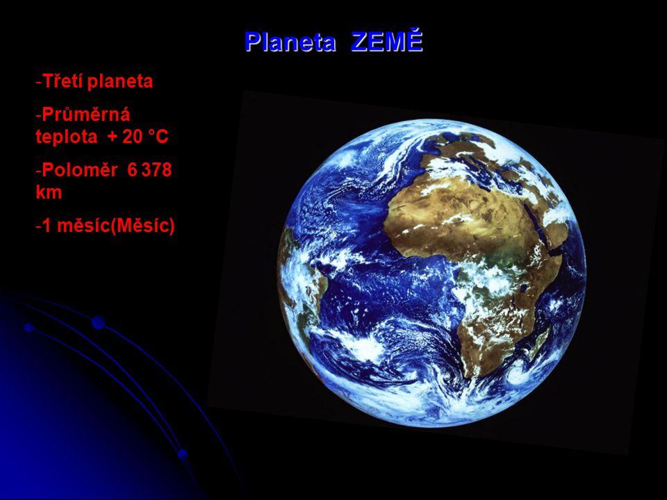Planeta ZEMĚ Třetí planeta Průměrná teplota + 20 °C Poloměr 6 378 km