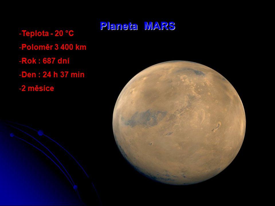 Planeta MARS Teplota - 20 °C Poloměr 3 400 km Rok : 687 dní