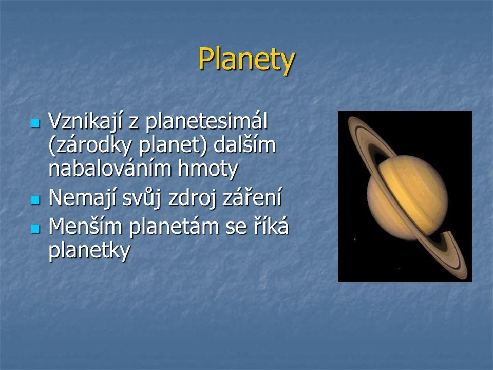 Planety Vznikají z planetesimál (zárodky planet) dalším nabalováním hmoty. Nemají svůj zdroj záření.