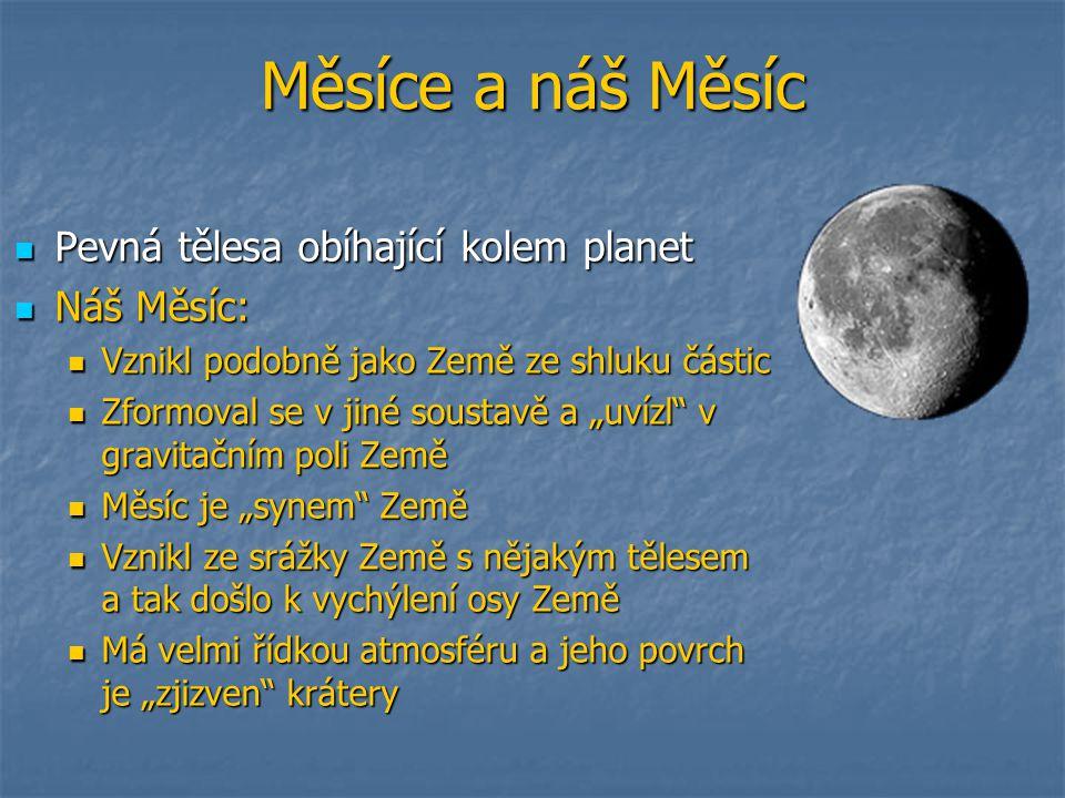 Měsíce a náš Měsíc Pevná tělesa obíhající kolem planet Náš Měsíc: