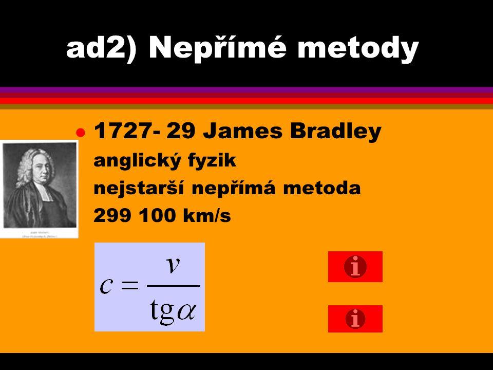 ad2) Nepřímé metody 1727- 29 James Bradley anglický fyzik