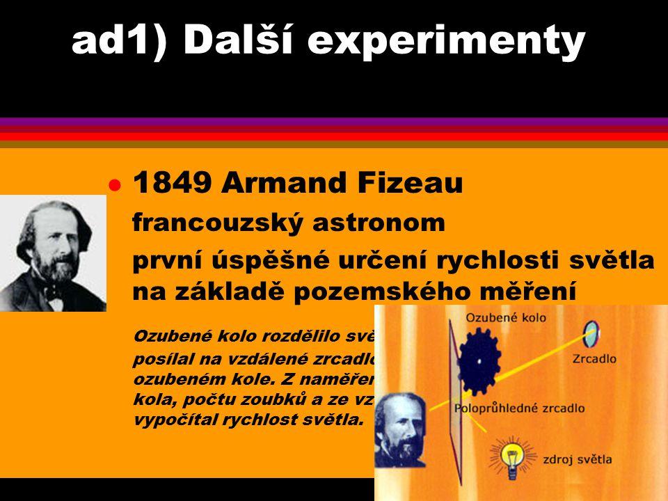 ad1) Další experimenty 1849 Armand Fizeau