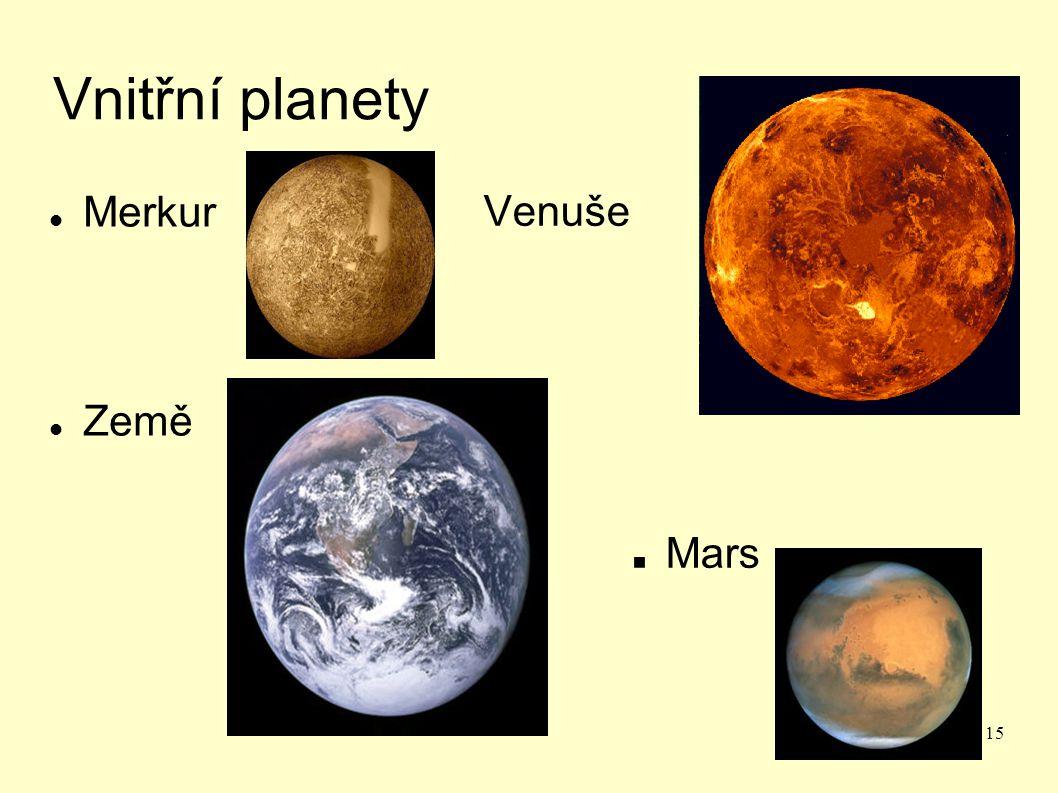 Vnitřní planety Merkur Země Venuše . Mars