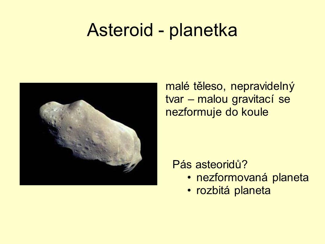 Asteroid - planetka malé těleso, nepravidelný tvar – malou gravitací se nezformuje do koule. Pás asteoridů