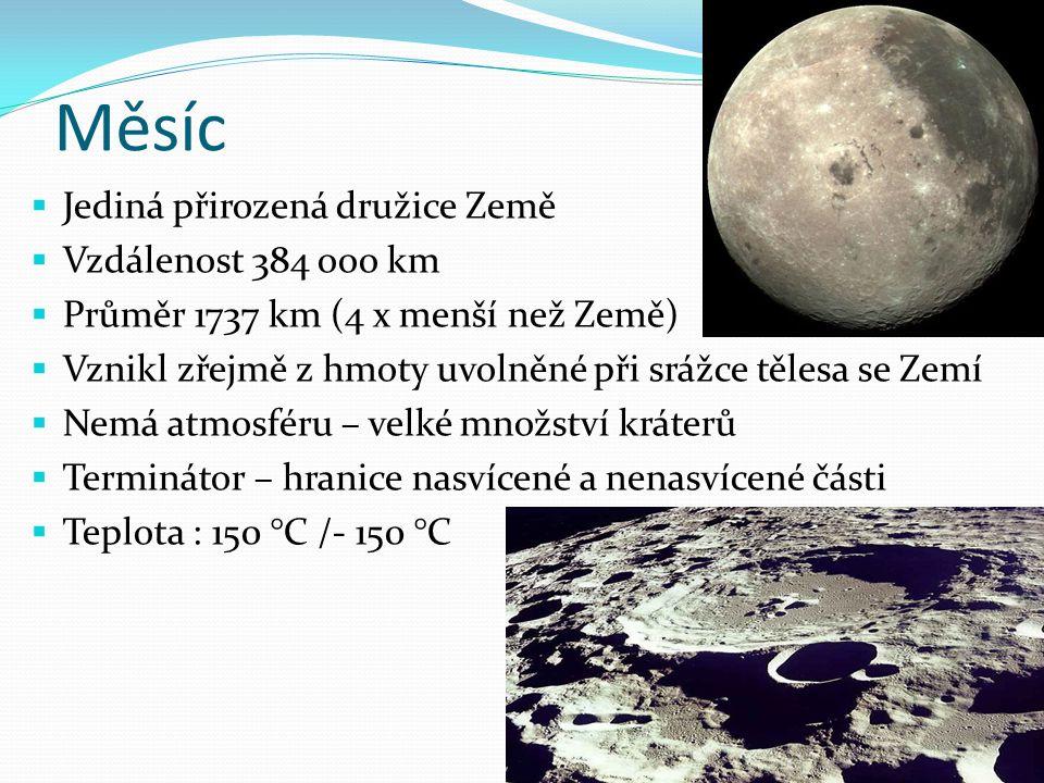 Měsíc Jediná přirozená družice Země Vzdálenost 384 ooo km