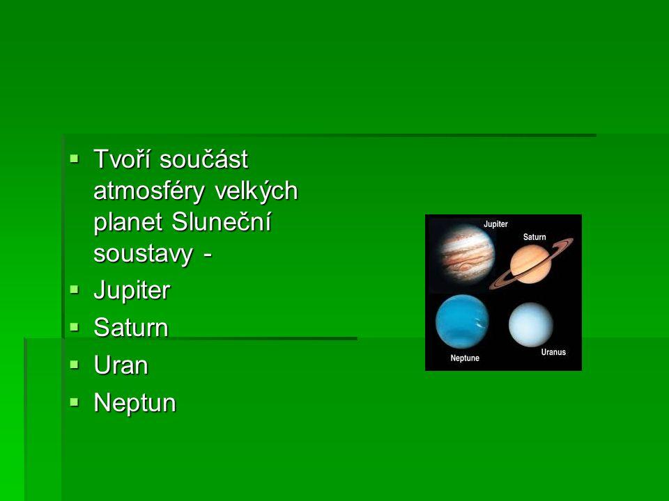 Tvoří součást atmosféry velkých planet Sluneční soustavy -