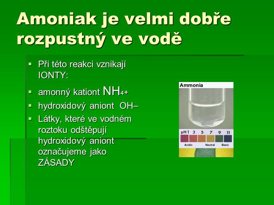 Amoniak je velmi dobře rozpustný ve vodě