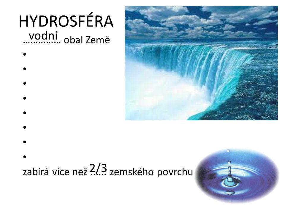HYDROSFÉRA vodní 2/3 …………… obal Země