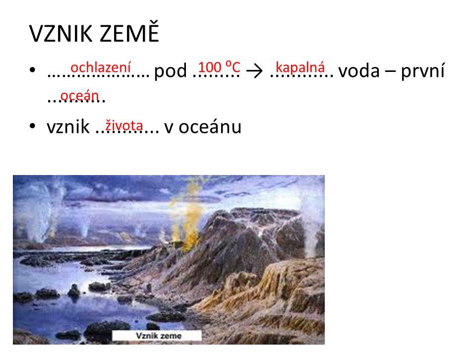 VZNIK ZEMĚ ………………… pod ......... → ............ voda – první ........... vznik ............ v oceánu.