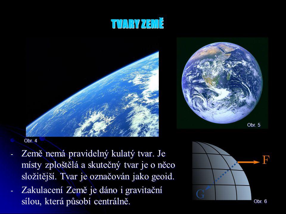 TVARY ZEMĚ Obr. 5. Obr. 4. Země nemá pravidelný kulatý tvar. Je místy zploštělá a skutečný tvar je o něco složitější. Tvar je označován jako geoid.