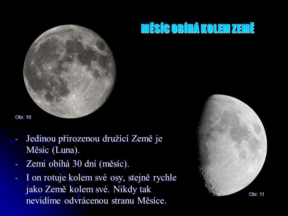MĚSÍC OBÍHÁ KOLEM ZEMĚ Obr. 10. Jedinou přirozenou družící Země je Měsíc (Luna). Zemi obíhá 30 dní (měsíc).