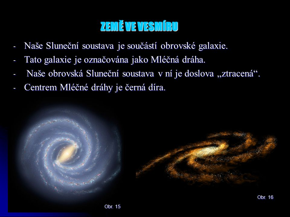 ZEMĚ VE VESMÍRU Naše Sluneční soustava je součástí obrovské galaxie.