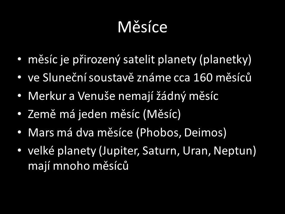Měsíce měsíc je přirozený satelit planety (planetky)