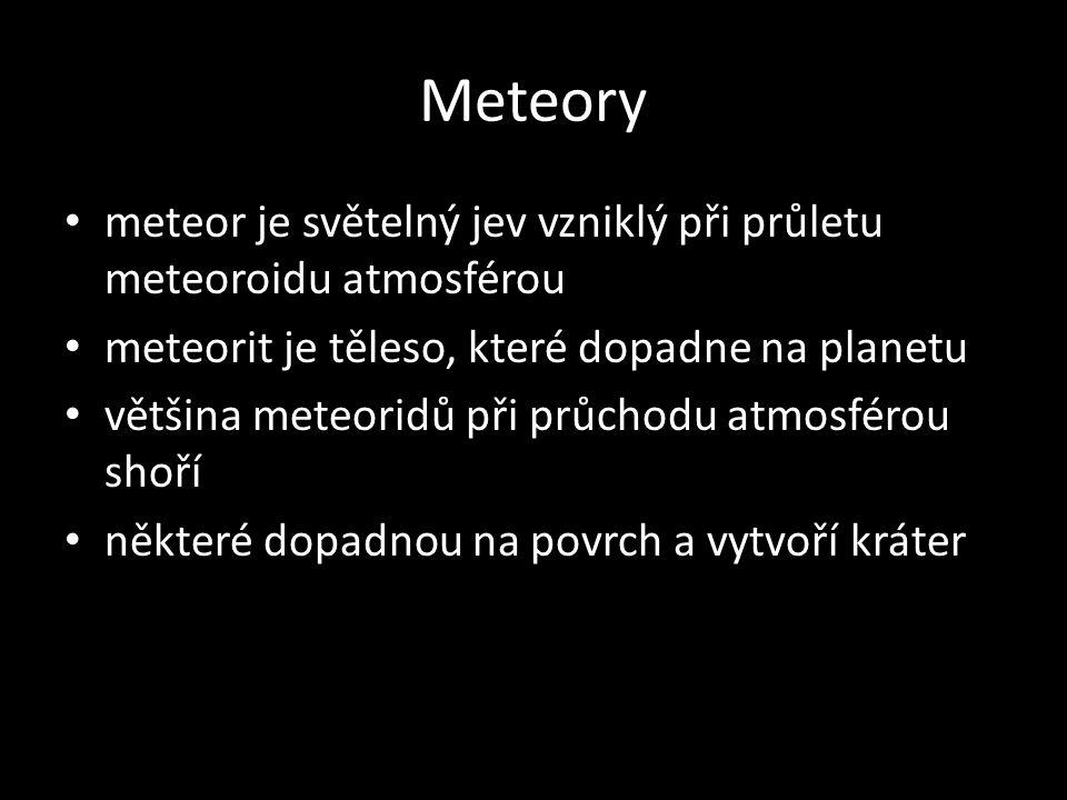 Meteory meteor je světelný jev vzniklý při průletu meteoroidu atmosférou. meteorit je těleso, které dopadne na planetu.