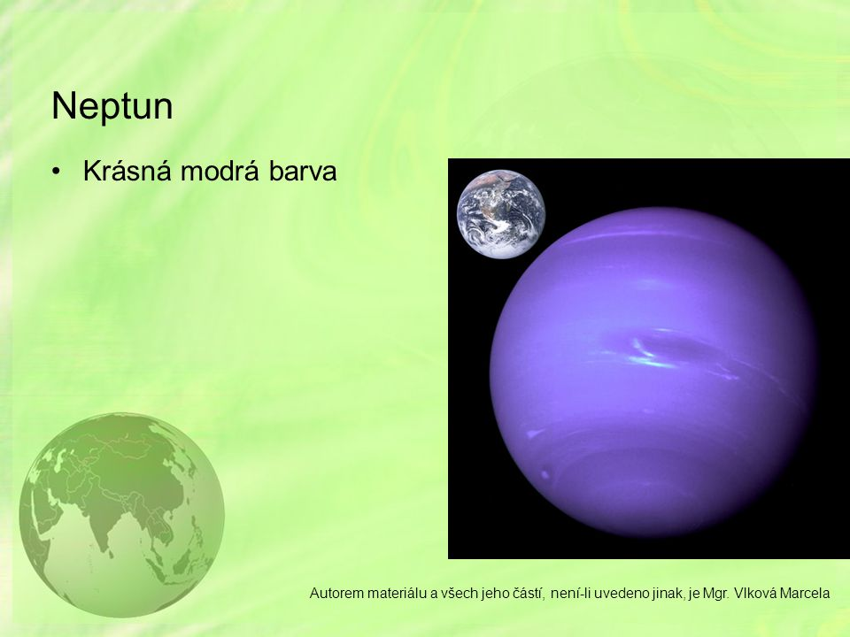 Neptun Krásná modrá barva