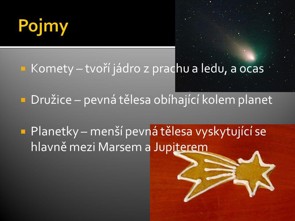 Pojmy Komety – tvoří jádro z prachu a ledu, a ocas