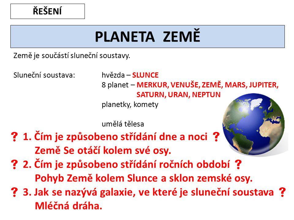 ŘEŠENÍ PLANETA ZEMĚ. Země je součástí sluneční soustavy. Sluneční soustava: hvězda – SLUNCE.