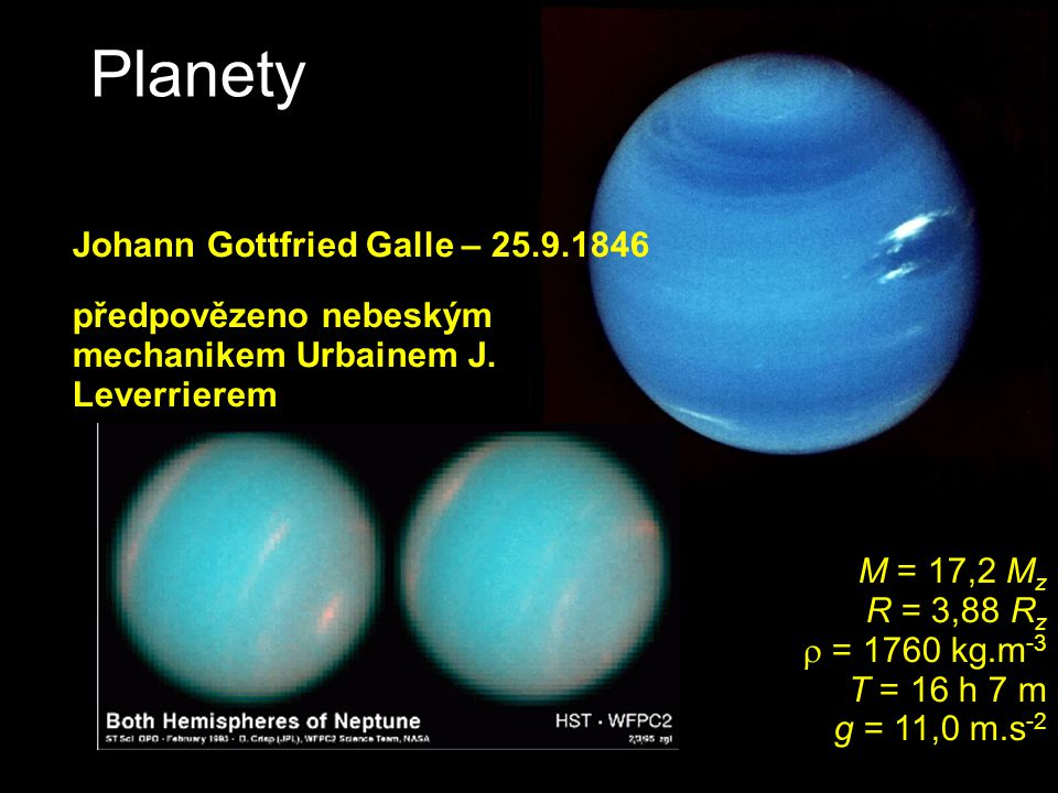 Planety NEPTUN Johann Gottfried Galle – 25.9.1846