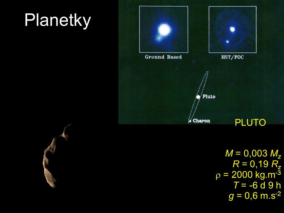 Planetky PLUTO M = 0,003 Mz R = 0,19 Rz  = 2000 kg.m-3 T = -6 d 9 h g = 0,6 m.s-2