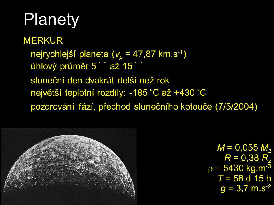Planety MERKUR nejrychlejší planeta (vp = 47,87 km.s-1)