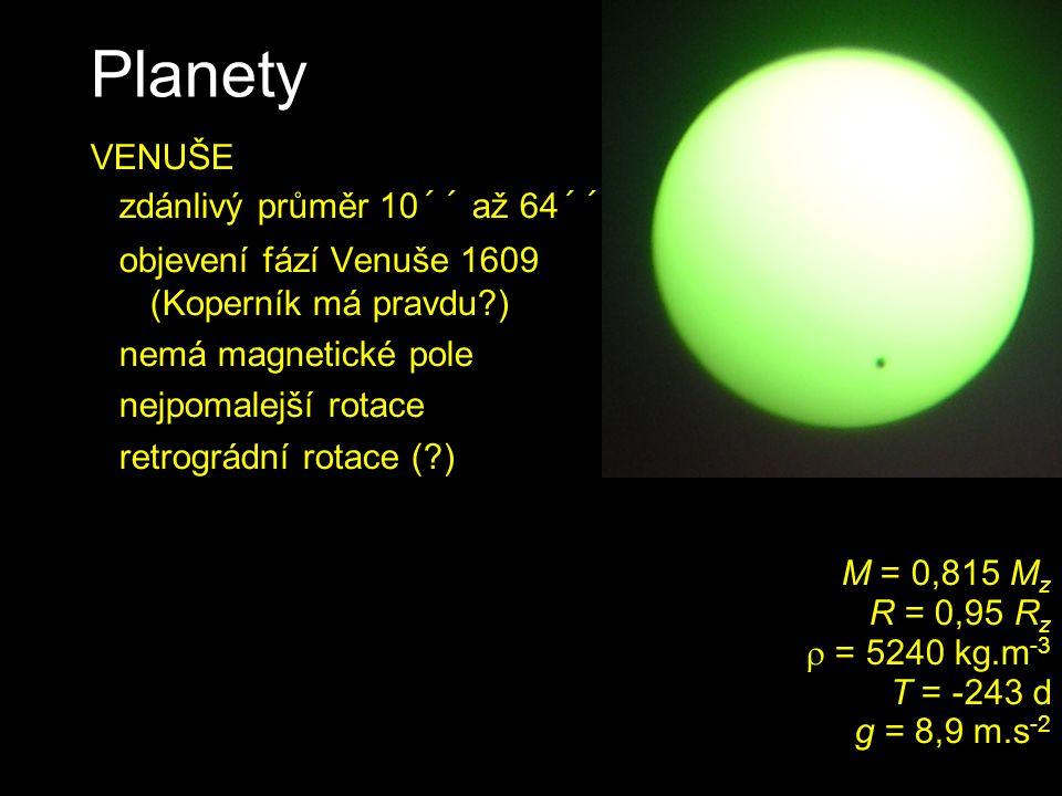 Planety VENUŠE zdánlivý průměr 10´´ až 64´´