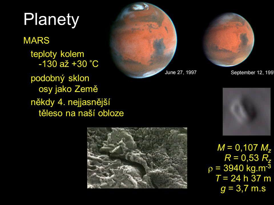 Planety MARS teploty kolem -130 až +30 °C podobný sklon osy jako Země