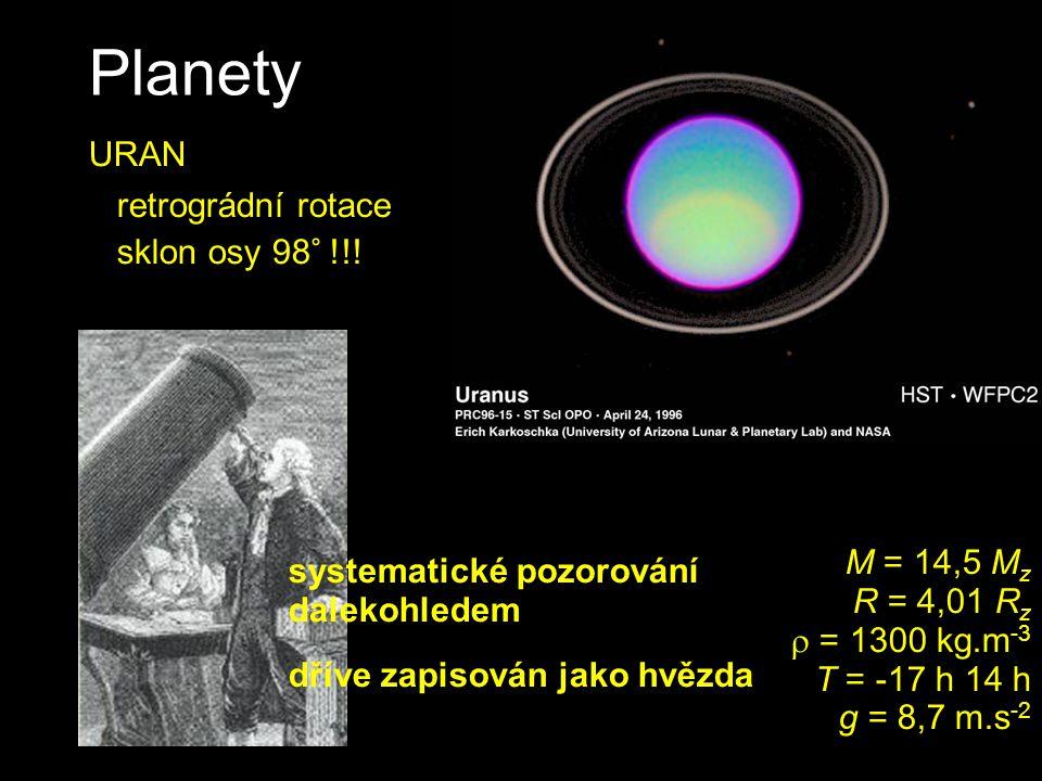 Planety URAN retrográdní rotace sklon osy 98° !!!