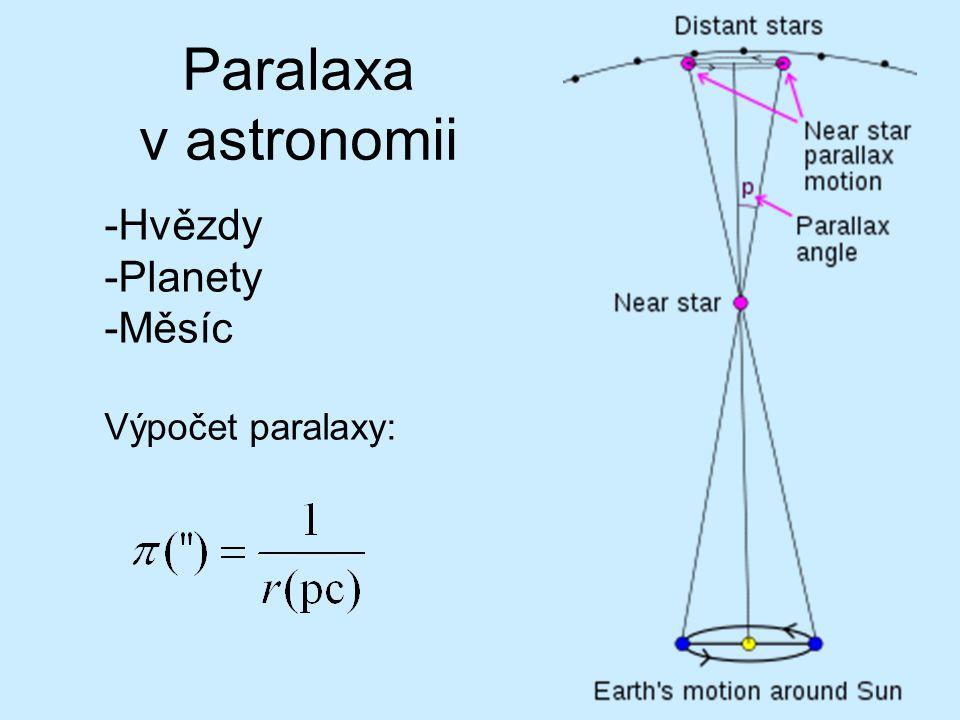 Paralaxa v astronomii Hvězdy Planety Měsíc Výpočet paralaxy: