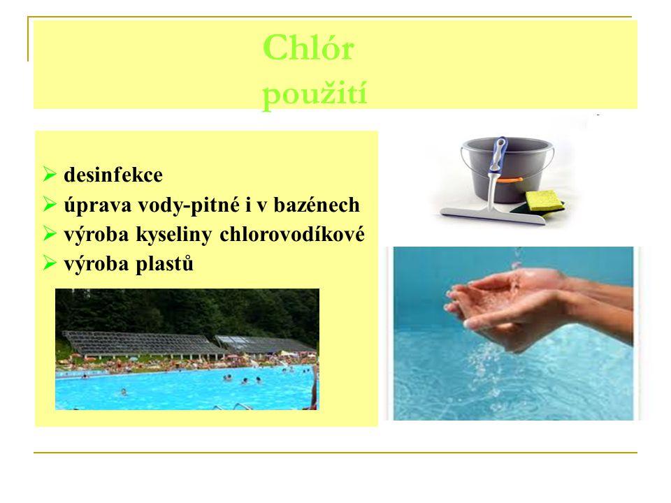 Chlór použití desinfekce úprava vody-pitné i v bazénech