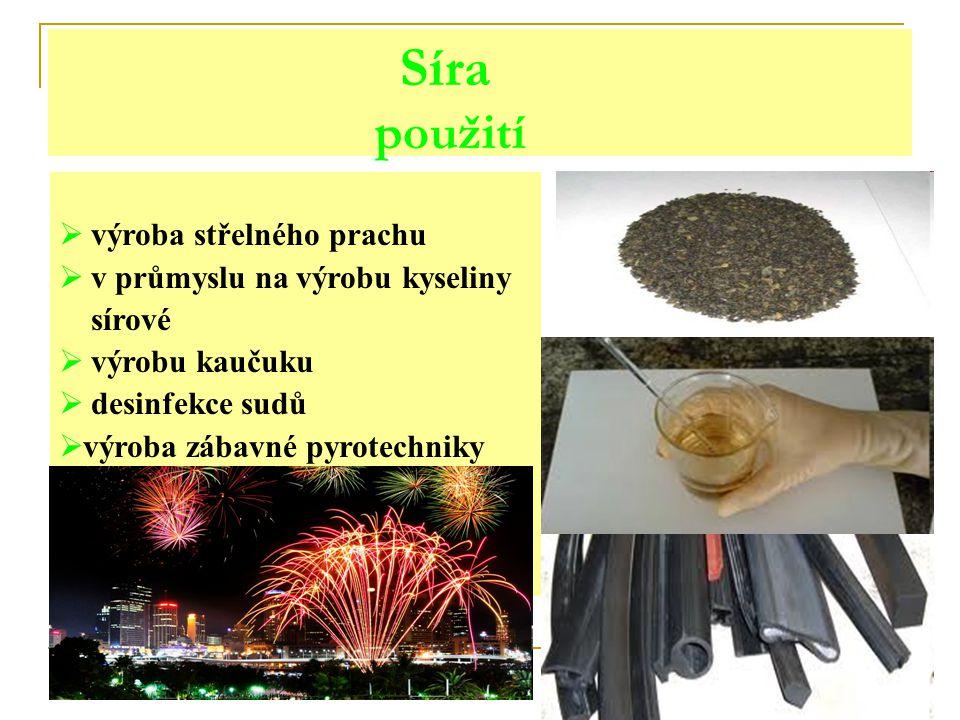 Síra použití výroba střelného prachu v průmyslu na výrobu kyseliny