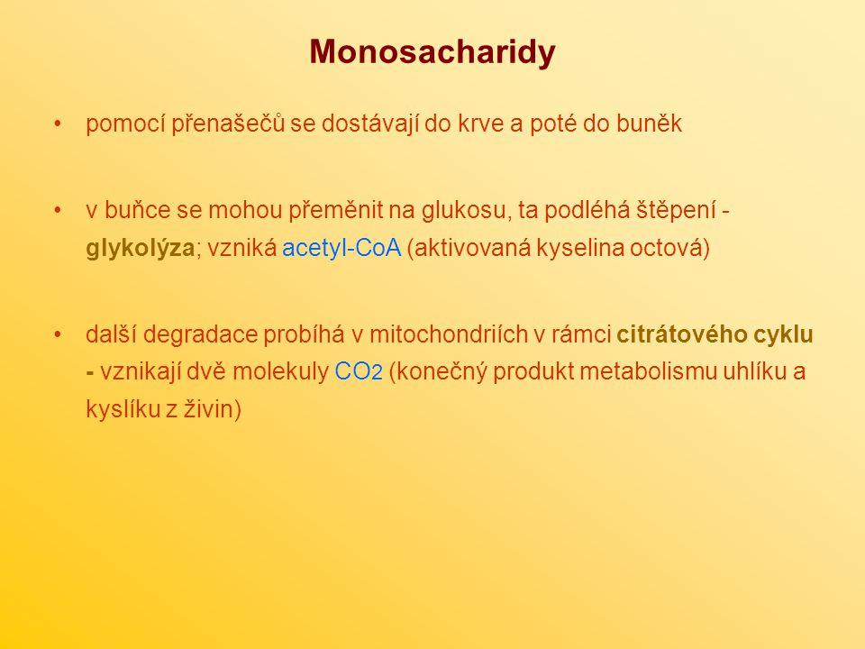 Monosacharidy pomocí přenašečů se dostávají do krve a poté do buněk