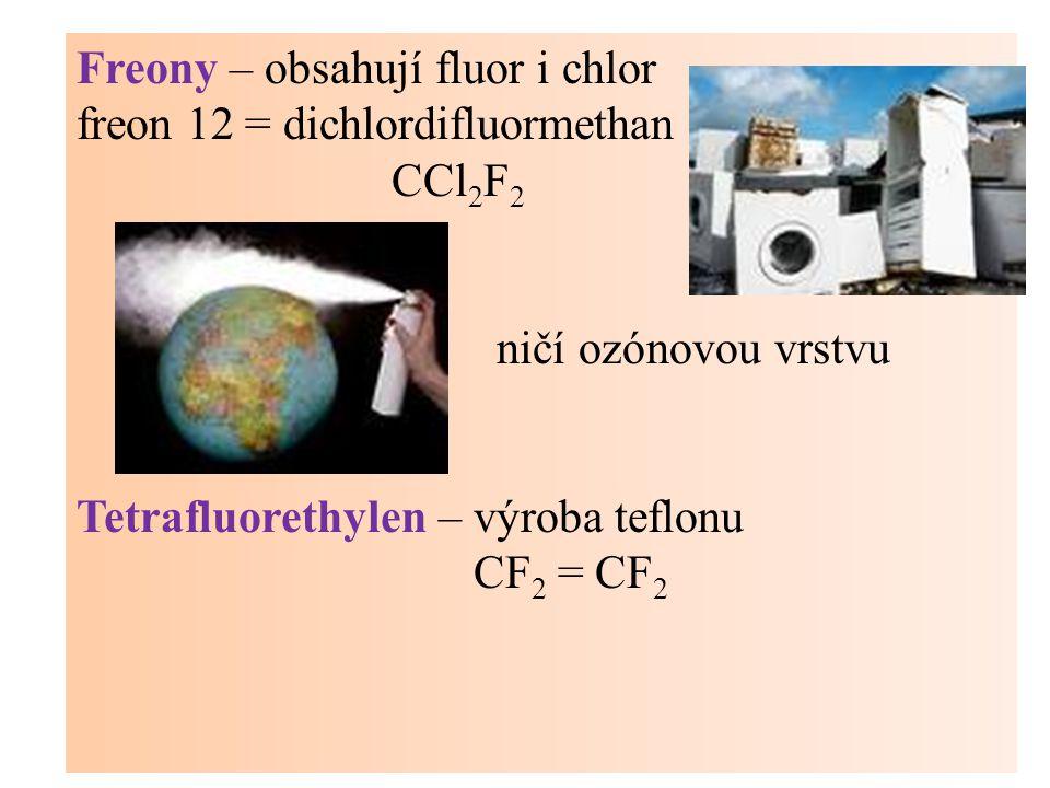 Freony – obsahují fluor i chlor